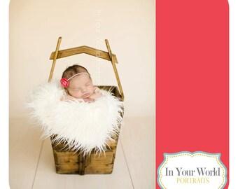 White Mongolian Faux Fur Rug Nest Photography Photo Prop 27x20 Newborn Baby Toddler Mat