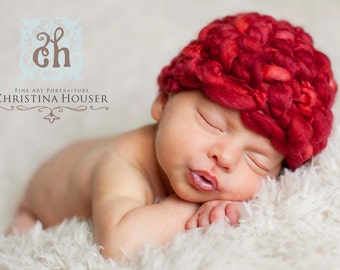 Valentine Red Merino Newborn Hat