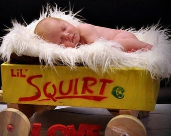 White Mongolian Faux Fur Rug Nest Photography Photo Prop 27x20 Newborn Baby Toddler Backdrop Floordrop