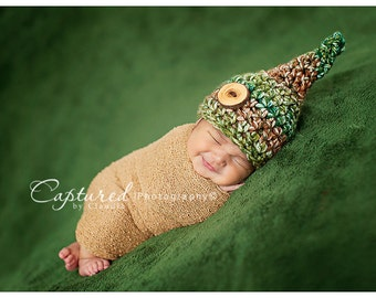Moss Green & Brown Gnome Hat Newborn Baby
