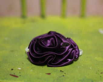 Large Purple Rosette Flower Headband