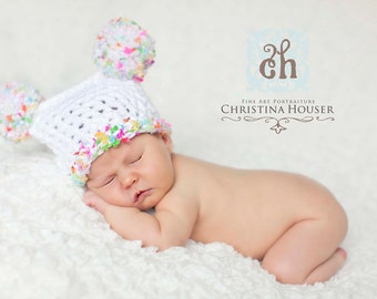 Newborn Pom Pom Sack Hat White Pink Lime Green