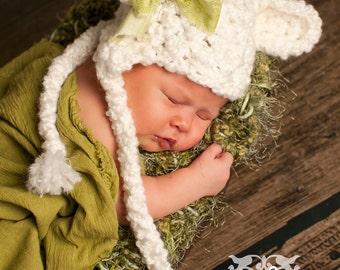 Sweet Dreams White Earflap Beanie Bear Hat