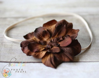 Brown Vintage Inspired Flower Headband