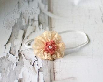 Peach Headband Lace Flower Skinny