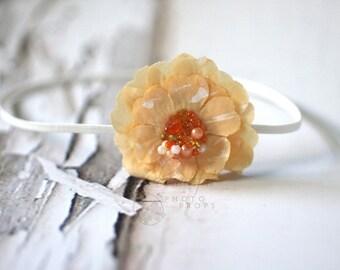 Peach Flower Bead Headband