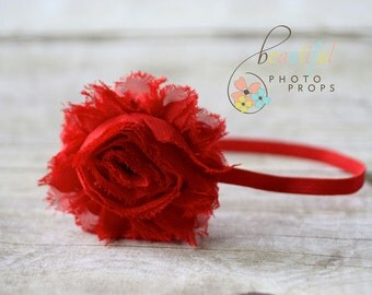Red Chiffon Headband Frayed Rosette Flower