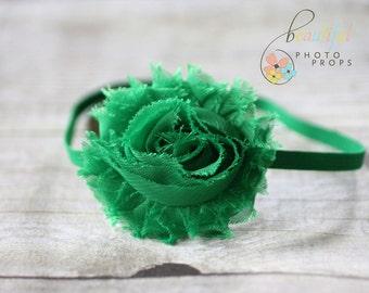 Green Chiffon Headband Rosette Flower OOAK
