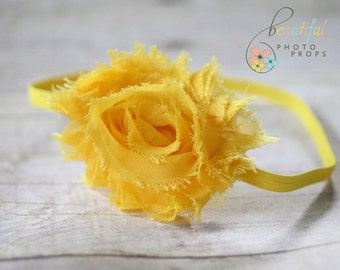 Yellow Chiffon Headband Rosette Flower