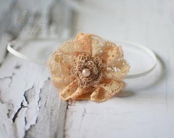 Tan Headband Lace Flower Skinny