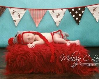 Red Mongolian Fur Rug Photography Photo Prop Newborn Baby Toddler Mat 27x30