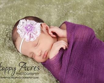 Purple Headband Lace Flower Skinny