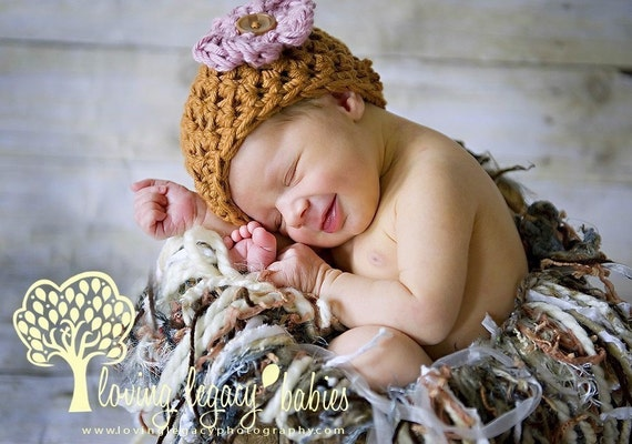 Caramel Brown Cotton Newborn Beanie Hat