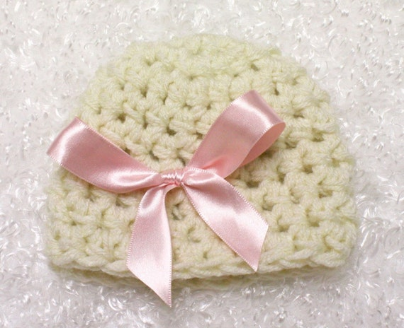 Pink Bow Peep Natural Beanie Hat