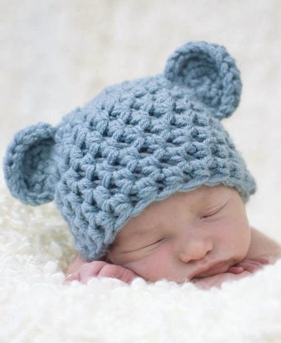 Blue Handmade Newborn Teddy Bear Hat