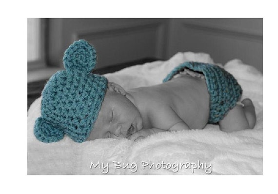 Chunky Blue Teddy Bear Hat Diaper Cover Set