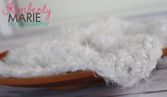 White Fur Newborn Baby Blanket Photo Prop