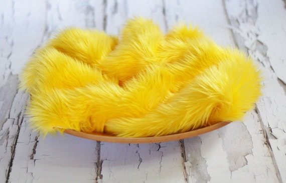 Yellow Mongolian Fur Rug Nest Photography Photo Prop 27x20 Newborn Baby Toddler Mat Backdrop Floordrop