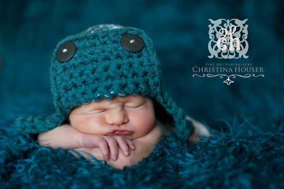 Teal Blue Gray AVIATOR Bomber Hat Newborn Baby