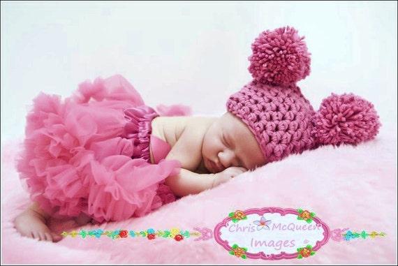 Hot Pink Newborn Pom Pom Sack Hat