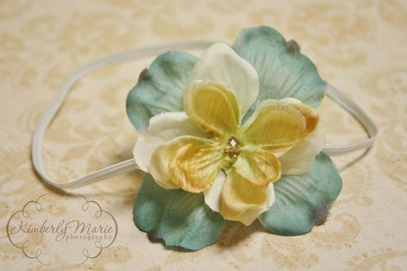 Cream and Blue Vintage Inspired Flower Headband