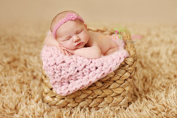 Pink Puff Newborn Baby Blanket Photo Prop