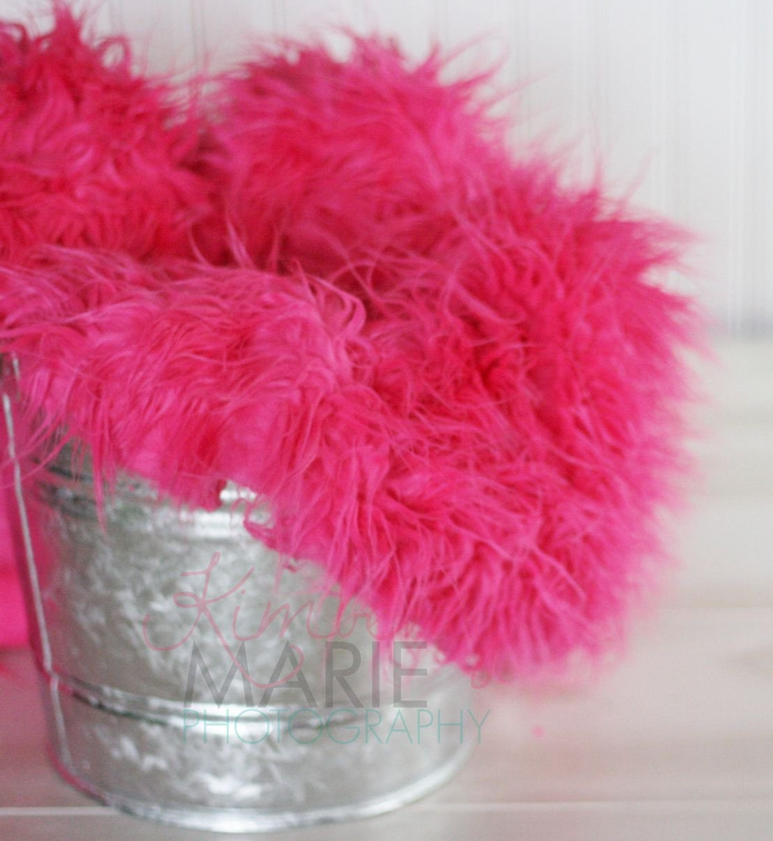 Hot Pink Mongolian Faux Fur Photography Prop Rug Newborn Baby