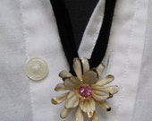 Vintage Necklace with Gold-Tone and Pink Rhinestone Flower Pendant