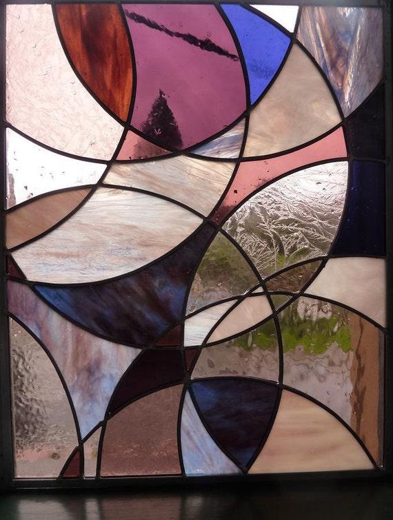 Stained Glass Panel Art - Purple Dust Storm - Suncatcher Window