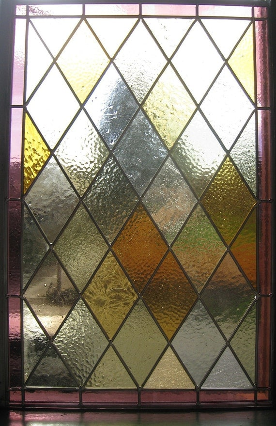 Stained Glass Panel Amber And Purple Diamond Pattern