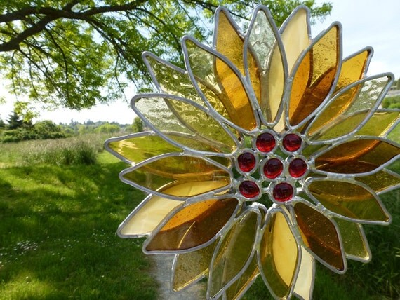 Stained Glass Autumn Flower