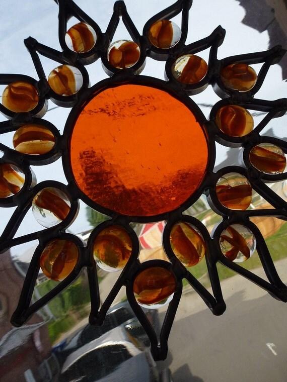 Glass Orange Sun Suncatcher