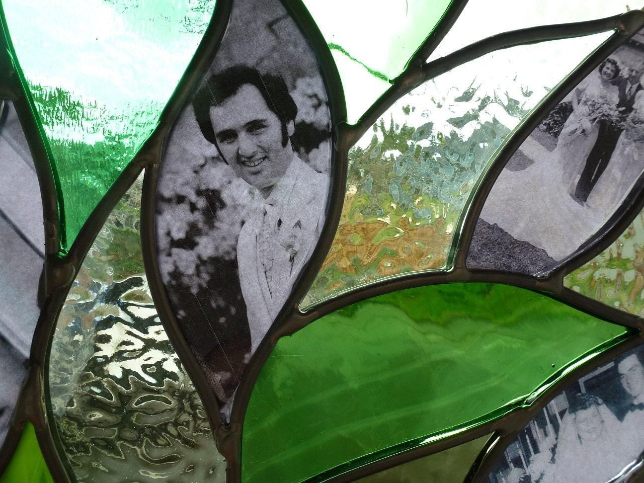 Stained glass window family tree panel suncatcher