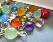Add on Stone Pendant Charm. Wire Wrapped with ring. Gemstone Charm. Chalcedony briolette, Quartz briolette. Custom stone. Bright fashion