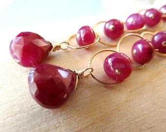 """3"""" long.  Ruby earrings. Gold Ruby earrings. July birthstone earrings. Ruby briolette drop. Statement Jewelry Modern Handmade"""