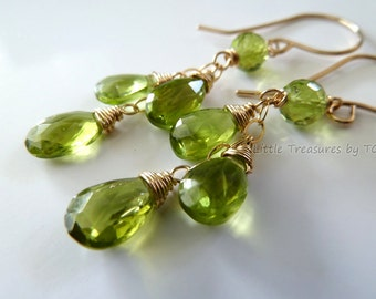 Apple Green Peridot earrings in gold or silver.  Wire wrapped. Dangle earrings. August birthstone earrings.  Peridot. Leo gifts. Leo jewelry