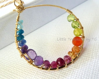 Rainbow necklace - Inner circle multicolored gemstone necklace. Bright jewelry. Statement jewelry. Neon Necklace. Spring jewelry. Multicolor