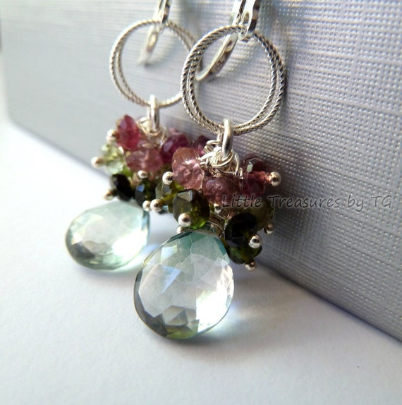 English rose earrings with pale green Quartz briolette, green and pink watermelon Tourmaline on sterling silver leverbacks Cluster earrings