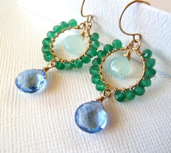 Emerald green Onyx Aqua Chalcedony Blue Quartz Wire Wrapped Handmade Gold OR Silver earrings. Summer fashion Trendy  chandelier earrings