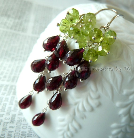 Pomegranate red Garnet with apple green Peridot long dangle earrings in sterling silver. January birthday. Last pair. Valentine jewelry