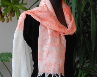 Wool or silk scarf 'flowers' with fluor orange flower design