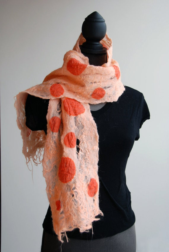 SALE hand made felted pink red orange scarf 'Body fluids'