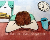 Watercolor Painting ACEO - First Day of School - Tired mom with coffee - 7 card draw
