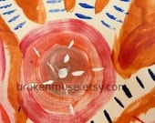 spiral abstract hand reiki - Acrylic Painting - 6x7 matted to 8x10 - Healing Hands