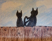 Cats sitting on Fence Tails make heart - Colored Pencil and Ink ACEO - Tale of Two Kitties - 7 card draw