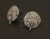 SI-287-MS / 2 Pcs - Paisley Circle Earring Findings, Matte Silver Plated over Brass Body with .925 Sterling Silver Post / 15mm x 17mm