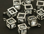 PD-109-OR / 2 Pcs - Cube Cubic Zirconia Charm, Silver Plated over Brass / 6mm