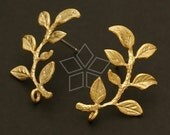 SI-347-MG / 2 Pcs - Laurel Earring Findings, Matte Gold Plated over Brass Body with .925 Sterling Silver Post / 15mm x 24mm