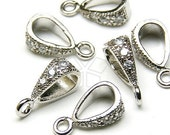 PS-006-OR / 4 Pcs - Pendant bail with CZ Stone Detail, Silver Plated over Brass / 3.5mm x 10mm