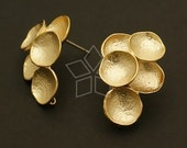 SI-358-MG / 2 Pcs - Concave Earring Findings, Matte Gold Plated over Brass Body with .925 Sterling Silver Post / 16mm x 22mm